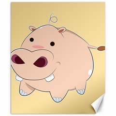 Happy Cartoon Baby Hippo Canvas 8  X 10  by Catifornia