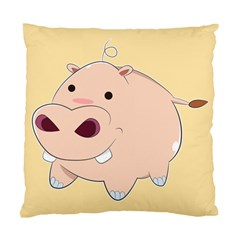 Happy Cartoon Baby Hippo Standard Cushion Case (two Sides) by Catifornia