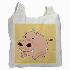 Happy Cartoon Baby Hippo Recycle Bag (one Side) by Catifornia