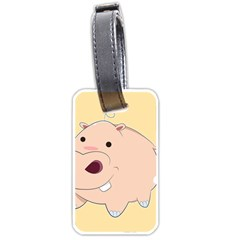 Happy Cartoon Baby Hippo Luggage Tags (one Side)  by Catifornia