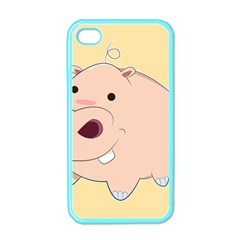 Happy Cartoon Baby Hippo Apple Iphone 4 Case (color) by Catifornia