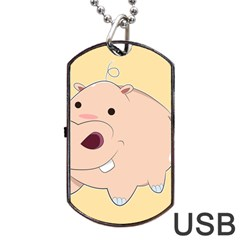 Happy Cartoon Baby Hippo Dog Tag Usb Flash (two Sides) by Catifornia