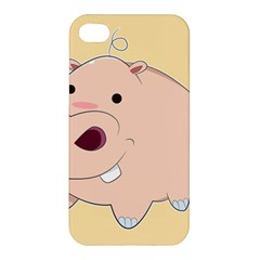 Happy Cartoon Baby Hippo Apple Iphone 4/4s Hardshell Case by Catifornia