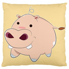 Happy Cartoon Baby Hippo Large Cushion Case (one Side) by Catifornia