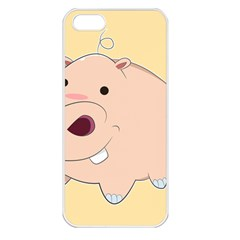 Happy Cartoon Baby Hippo Apple Iphone 5 Seamless Case (white) by Catifornia