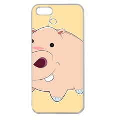 Happy Cartoon Baby Hippo Apple Seamless Iphone 5 Case (clear) by Catifornia
