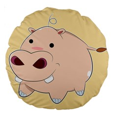 Happy Cartoon Baby Hippo Large 18  Premium Round Cushions by Catifornia