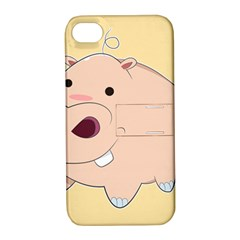Happy Cartoon Baby Hippo Apple Iphone 4/4s Hardshell Case With Stand by Catifornia