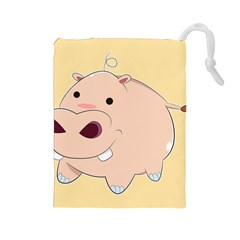 Happy Cartoon Baby Hippo Drawstring Pouches (large)  by Catifornia