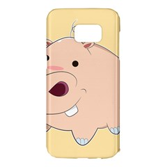 Happy Cartoon Baby Hippo Samsung Galaxy S7 Edge Hardshell Case by Catifornia
