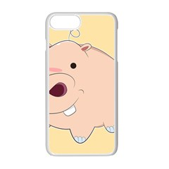 Happy Cartoon Baby Hippo Apple Iphone 7 Plus White Seamless Case by Catifornia