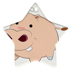 Happy Cartoon Baby Hippo Ornament (star) by Catifornia