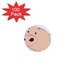 Happy Cartoon Baby Hippo 1  Mini Buttons (100 Pack)  by Catifornia