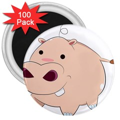 Happy Cartoon Baby Hippo 3  Magnets (100 Pack) by Catifornia