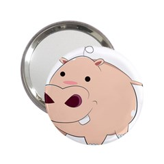 Happy Cartoon Baby Hippo 2 25  Handbag Mirrors by Catifornia
