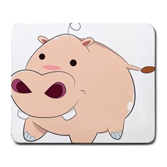 Happy Cartoon Baby Hippo Large Mousepads by Catifornia