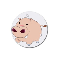 Happy Cartoon Baby Hippo Rubber Round Coaster (4 Pack)  by Catifornia