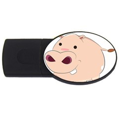 Happy Cartoon Baby Hippo Usb Flash Drive Oval (4 Gb) by Catifornia