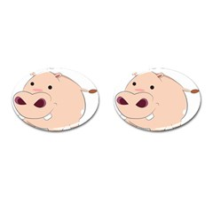 Happy Cartoon Baby Hippo Cufflinks (oval) by Catifornia