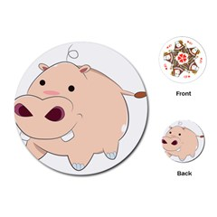 Happy Cartoon Baby Hippo Playing Cards (round)  by Catifornia