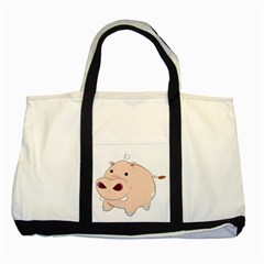 Happy Cartoon Baby Hippo Two Tone Tote Bag by Catifornia