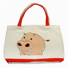Happy Cartoon Baby Hippo Classic Tote Bag (red) by Catifornia