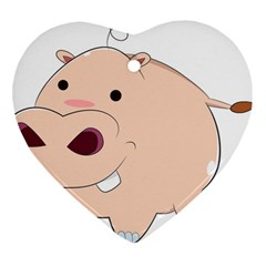 Happy Cartoon Baby Hippo Heart Ornament (two Sides) by Catifornia