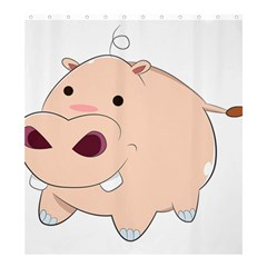 Happy Cartoon Baby Hippo Shower Curtain 66  X 72  (large)  by Catifornia