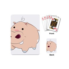 Happy Cartoon Baby Hippo Playing Cards (mini)  by Catifornia