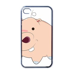 Happy Cartoon Baby Hippo Apple Iphone 4 Case (black) by Catifornia