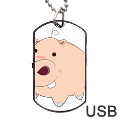 Happy Cartoon Baby Hippo Dog Tag Usb Flash (one Side) by Catifornia