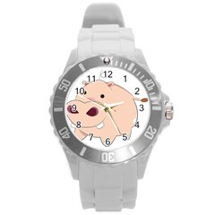 Happy Cartoon Baby Hippo Round Plastic Sport Watch (l) by Catifornia