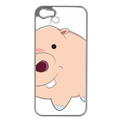 Happy Cartoon Baby Hippo Apple Iphone 5 Case (silver) by Catifornia