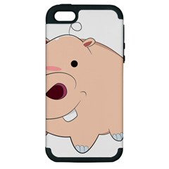 Happy Cartoon Baby Hippo Apple Iphone 5 Hardshell Case (pc+silicone) by Catifornia
