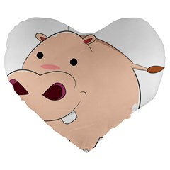 Happy Cartoon Baby Hippo Large 19  Premium Heart Shape Cushions by Catifornia