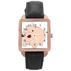 Happy Cartoon Baby Hippo Rose Gold Leather Watch  by Catifornia