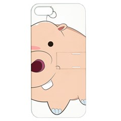 Happy Cartoon Baby Hippo Apple Iphone 5 Hardshell Case With Stand by Catifornia