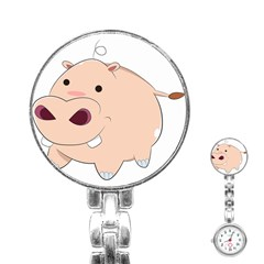Happy Cartoon Baby Hippo Stainless Steel Nurses Watch by Catifornia
