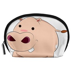 Happy Cartoon Baby Hippo Accessory Pouches (large)  by Catifornia