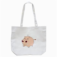 Happy Cartoon Baby Hippo Tote Bag (white) by Catifornia