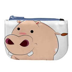 Happy Cartoon Baby Hippo Large Coin Purse by Catifornia