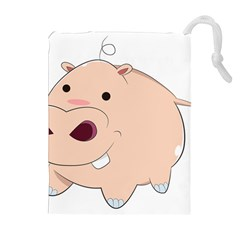 Happy Cartoon Baby Hippo Drawstring Pouches (extra Large) by Catifornia