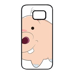 Happy Cartoon Baby Hippo Samsung Galaxy S7 Edge Black Seamless Case by Catifornia