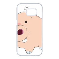 Happy Cartoon Baby Hippo Samsung Galaxy S7 Edge White Seamless Case by Catifornia