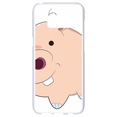 Happy Cartoon Baby Hippo Samsung Galaxy S8 White Seamless Case by Catifornia
