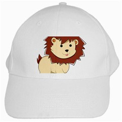 Happy Cartoon Baby Lion White Cap by Catifornia