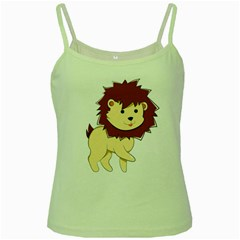 Happy Cartoon Baby Lion Green Spaghetti Tank