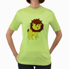 Happy Cartoon Baby Lion Women s Green T Shirt by Catifornia