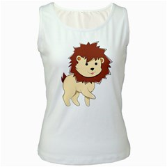 Happy Cartoon Baby Lion Women s White Tank Top by Catifornia
