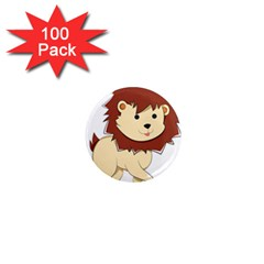 Happy Cartoon Baby Lion 1  Mini Magnets (100 Pack)  by Catifornia